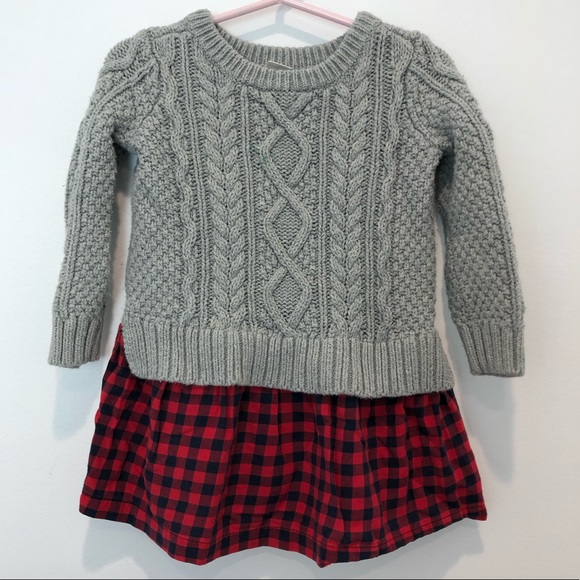 GAP kids Cable knit and plaid sweater dress- 2T